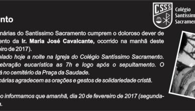 Nota Falecimento Irmã Maria José - Colégio
